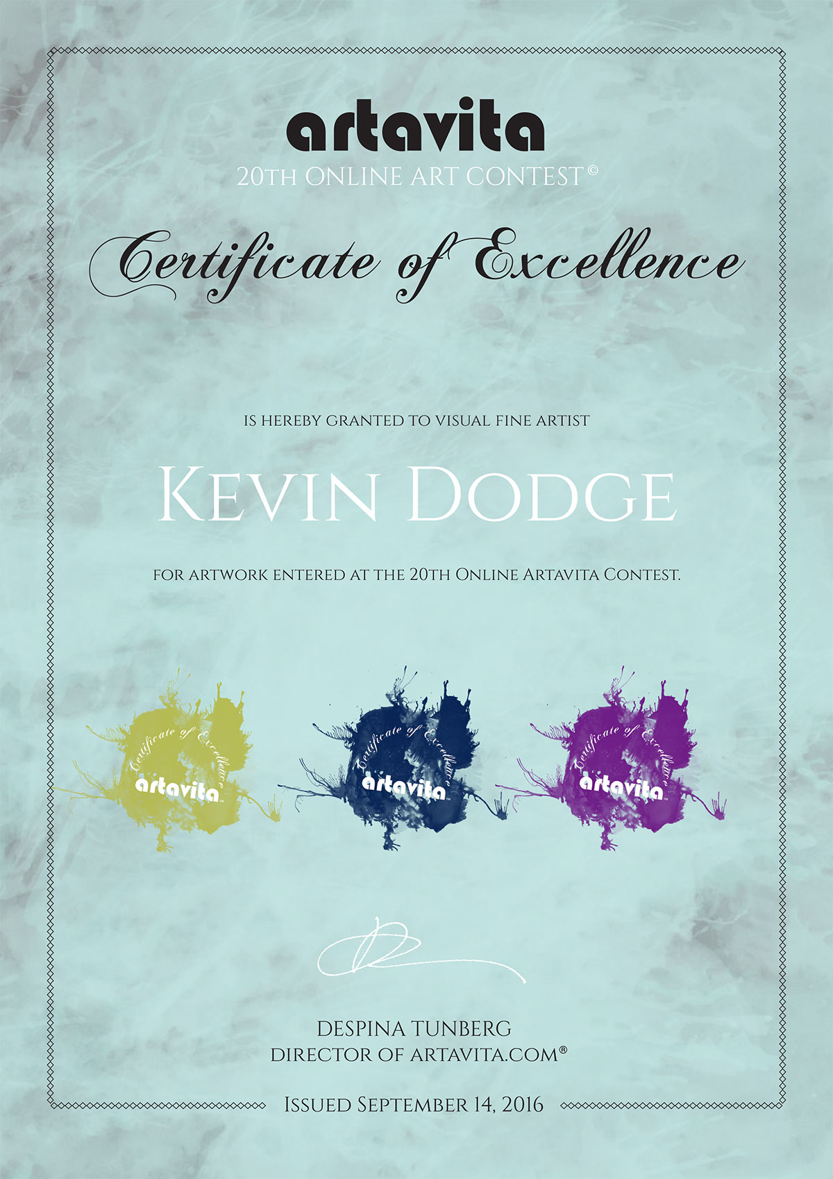 artavitacertificatec20-kevin-dodge
